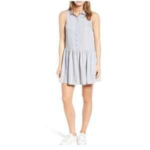 Rd style chambray stripe drop waist shirt dress